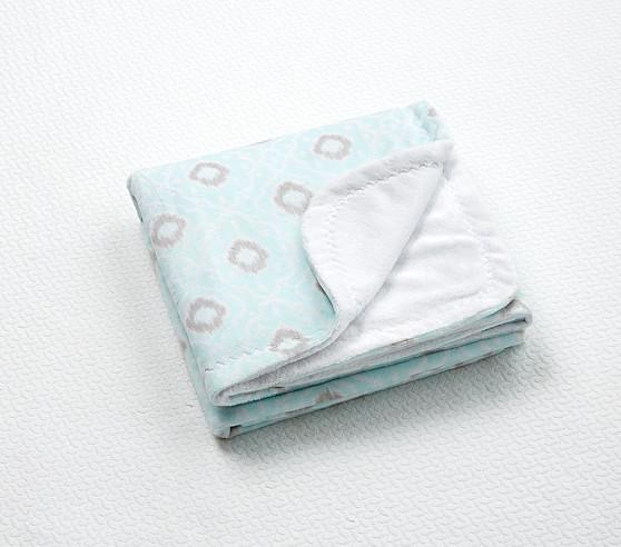 Claire Chamois Baby Blanket, Aqua