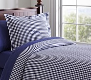 Buffalo Check Flannel Duvet Cover, Twin, Navy