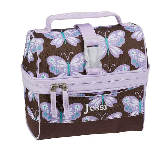 Mackenzie Lavender Butterfly Retro Lunch Bag