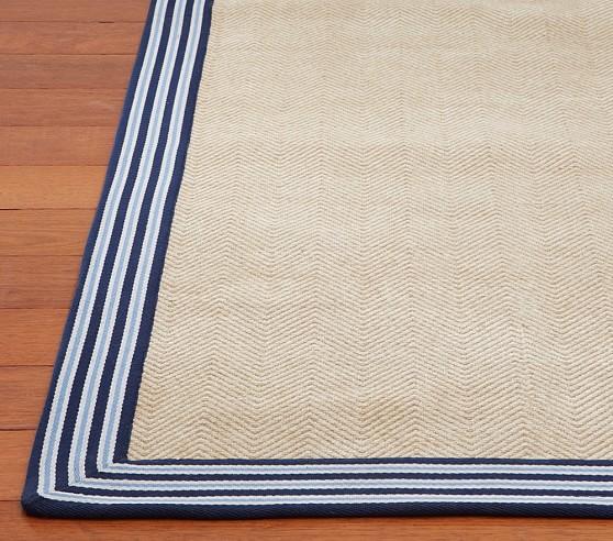 Chenille Jute Stripe Border Rug (Navy) 3x5'
