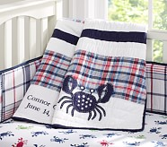 Crab Madras Nursery Quilt, Red/Navy