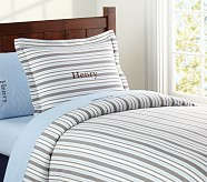 Lakehouse Stripe Duvet Cover, Twin, Chocolate