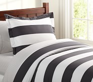 Rugby Stripe Duvet Cover, Twin, Gray