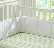 Harper Chevron Nursery Bumper Bedding Set: Crib Skirt, Crib Fitted Sheet & Bumper, Green