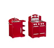 Retro Kitchen Oven & Sink Set, Red