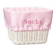 Large Sabrina Basket Mini Dot Liner, Pink Mini Dot