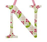 Printed Letter, N, Pink Hibiscus