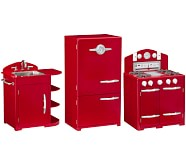 Retro Kitchen Sink, Icebox & Oven Set, Red