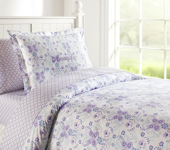 Ivy Damask Duvet Cover, Twin, Blue/Lavender
