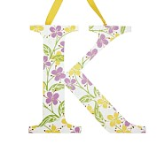Printed Letter, K, Lavender Hibiscus