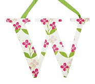 Printed Letter, W, Pink Hibiscus