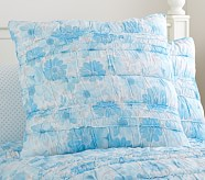 Lillian Floral Euro Quilted Sham, Blue
