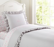 Ruffle Duvet Cover, Twin, Gray