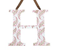Printed Letter, H, Pink Paisley