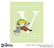 Dr. Seuss™ Alphabet Prints, Letter V, Light Green, Violin