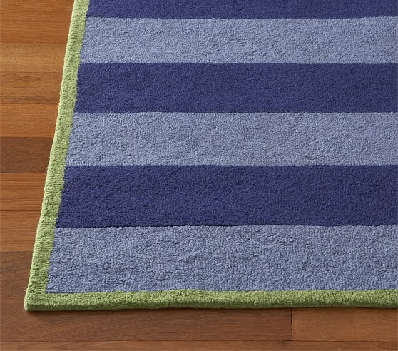 Navy/Light Blue Rugby Stripe Rug Swatch