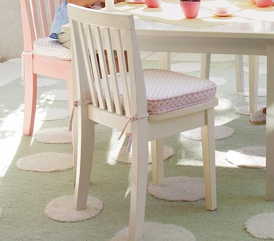 Carolina Kids' Chair Cushion, Pink Chenille Dot