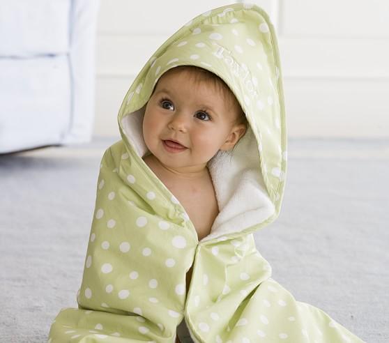 Polka Dot Nursery Wrap & Washcloth Set, Light Pink