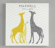 Personalized Giraffe Chevron Canvas Art, Blue