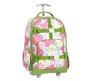 Mackenzie Pink Hibiscus Rolling Backpack