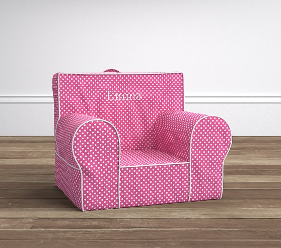 Bright pink mini dot anywhere chair pottery barn kids for Toddler mini chair
