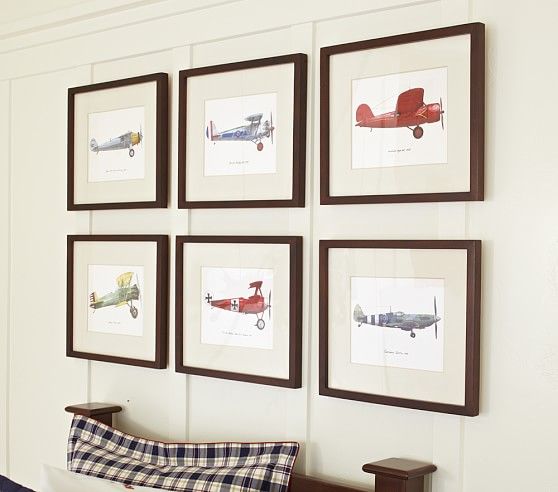Boy S Room Airplane And Constellation Wall Map: Framed Vintage Plane Art