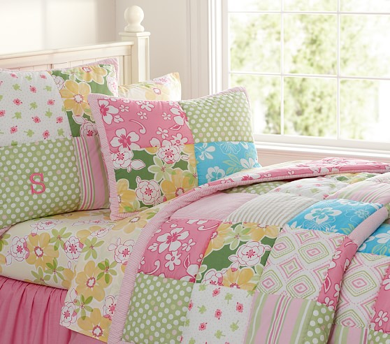 Pottery Barn Kids Pink And Green Patchwork: Pottery Barn Kids Key West Patchwork Twin Quilt,pink,girls