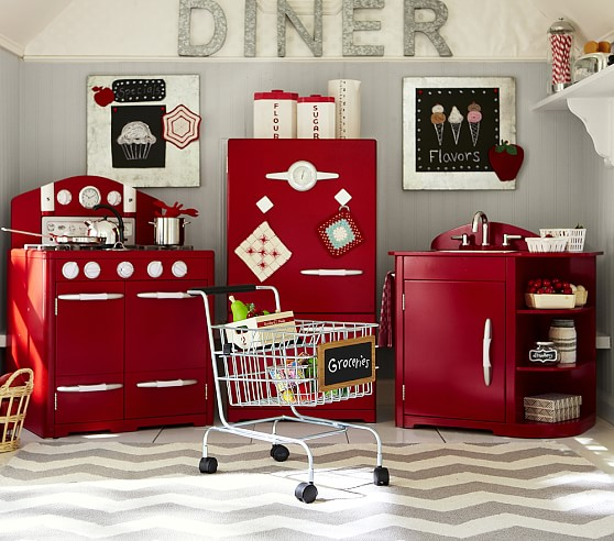 home shop all toys kitchens accessories red retro kitchen collection