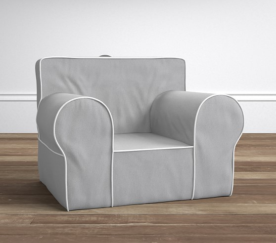 Gray With White Piping Oversized Anywhere Chair 174 Slipcover