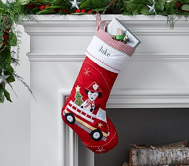 Firetruck Dog Quilted Stocking Pottery Barn Kids