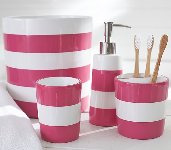 Pink stripe bath accessories pottery barn kids for Pink bathroom accessories sets