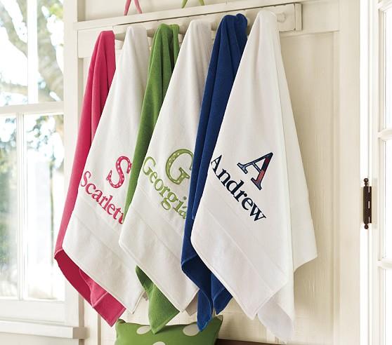 Personalized Appliqu 233 Essential Bath Towels Pottery Barn