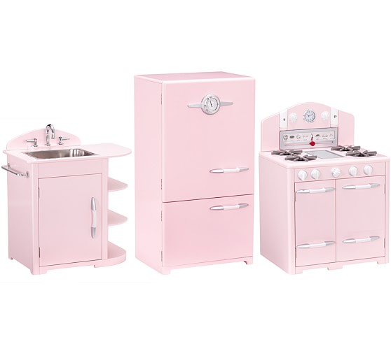 Pink Retro Kitchen Sink, Icebox & Oven Set