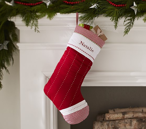Solid Red Quilted Stocking Pottery Barn Kids