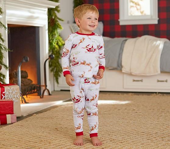 Santa S Sleigh Cotton Tight Fit Pajama Pottery Barn Kids
