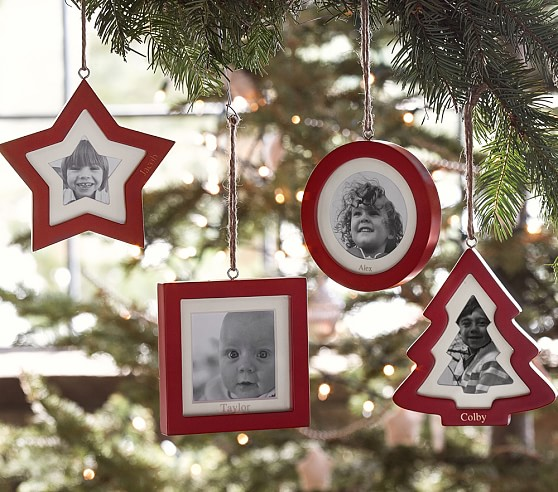 Christmas Tree Ornaments Picture Frames : Red frame ornaments pottery barn kids