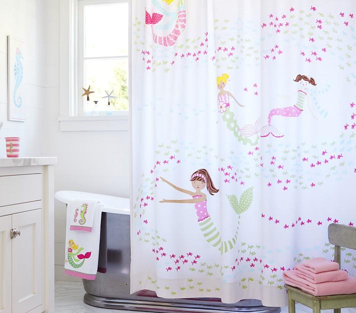 Mermaid Shower Curtain Pottery Barn Kids - Girls Bathroom Shower Curtains Abby Home Design