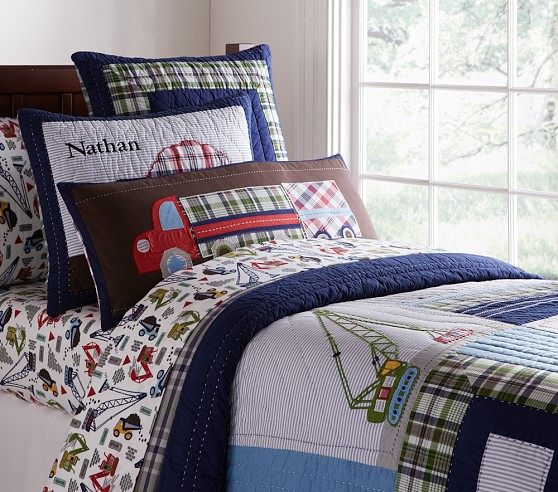 Boys Construction Sheets : Busy builder quilted bedding pottery barn kids