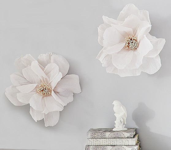 crepe paper flower decor set of 2 pottery barn kids