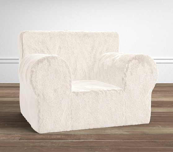 Ivory Faux Fur Oversized Anywhere Chair Slipcover ly
