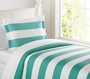 Rugby Stripe Duvet Cover, Twin, Aqua