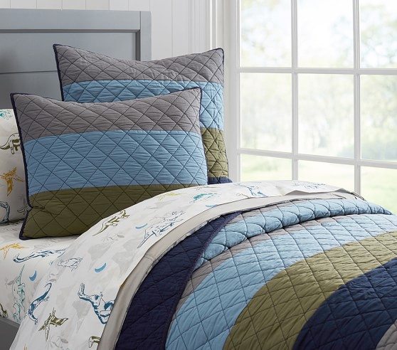 Block Stripe Quilted Bedding Pottery Barn Kids
