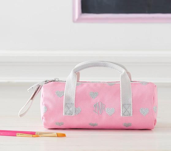 Mackenzie Pink Glitter Heart Pencil Case Pottery Barn Kids