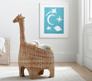 Giraffe Shaped Wicker Basket Pottery Barn Kids