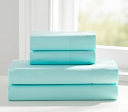 Organic Cotton Sheet Set, Aqua, Standard Pillowcase