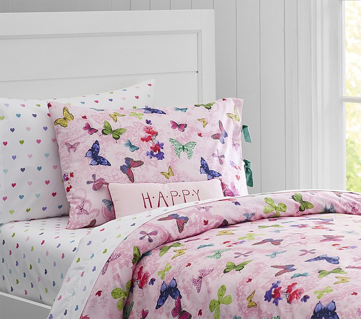 Organic Lace Butterfly Duvet Cover | Pottery Barn Kids