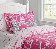 Chinoiserie Duvet Cover, Twin, Bright Pink