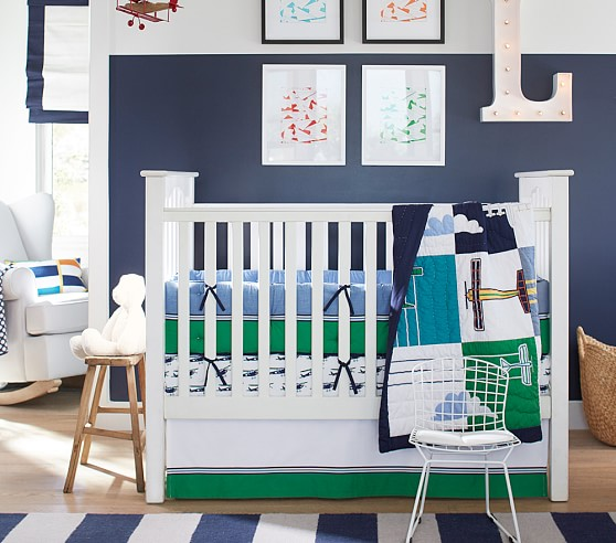 Rugby rug pottery barn kids - Airplane baby bedding sets ...