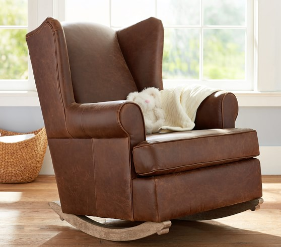 Leather wingback convertible rocker ottoman pottery