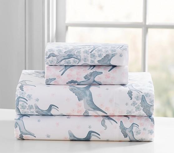 Clara Sateen Horses Standard Pillowcase, Light Pink
